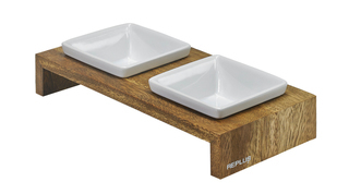 Bowsers Artisan Double Feeder - Xsmall - Bamboo - 13822