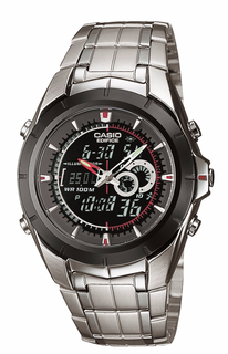 Casio Silver Edifice Analog-Digital Dress Watch - EFA119BK-1A