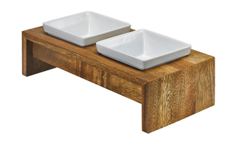 Bowsers Artisan Double Feeder - Small - Bamboo - 13824